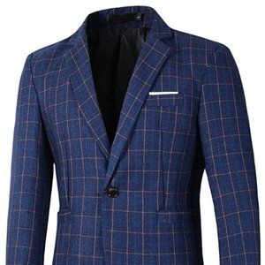 Other - Mens Casual One Button Slim Fit Plaid Blazer Jacke